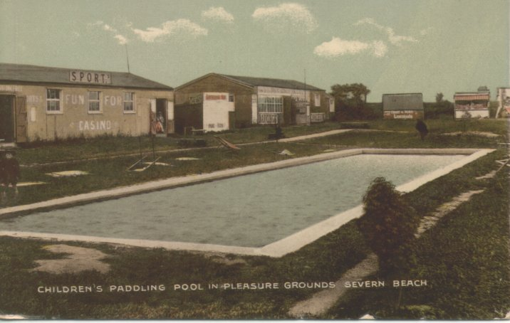 Childrens paddling pool in pleasure grounds